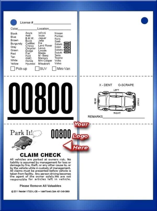 #VT3CVL-CB      3 Part Custom Vehicle List - Car Back 1,000
