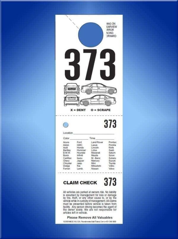 #VT3HAND (3 Part Std Hanging Tickets - Car Diagram 1,000)