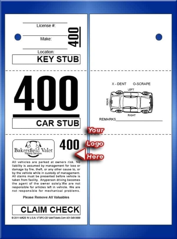 #VT3PC-CB     Custom Prestige Tickets - Car Back 1,000