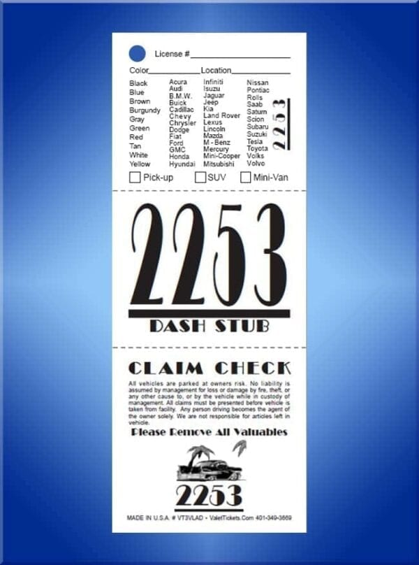 #VT3VLAD (3 Part Art Deco Vehicle List Valet Tickets 1,000)
