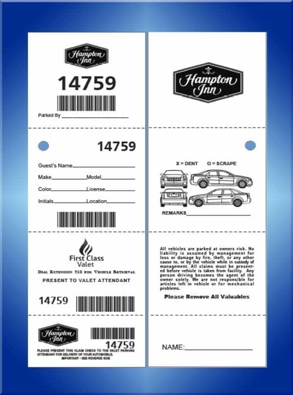 #VT4BCC2 4 Part 2 Sided Bar Code Valet Tickets