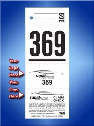 #VT4C  4 Part Custom Printed Valet Parking Tickets 1,000