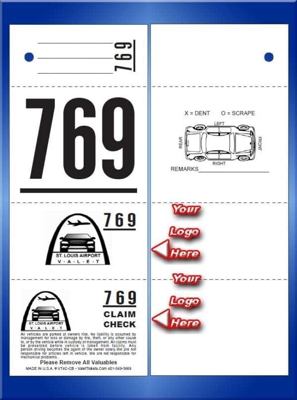 #VT4C-CB  4 Part Custom Printed Tickets - Car Back 1,000
