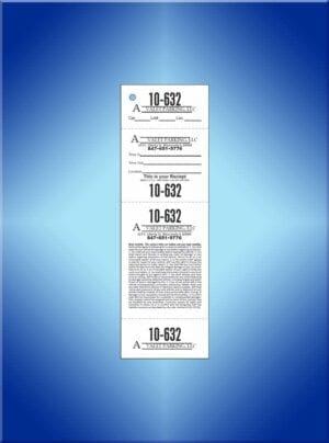 #VT4CAV Consecutive Number 4 Part Custom Ticket