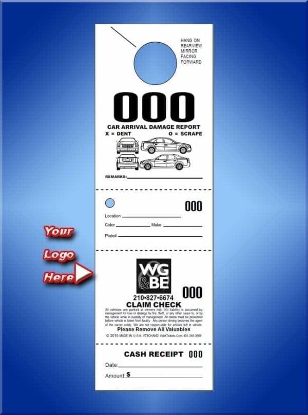 #VT4CHAND                    4 Part Custom Hanging Valet Ticket