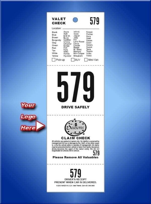 #VT4CVL          4 Part Custom Vehicle List Valet Tickets 1,000