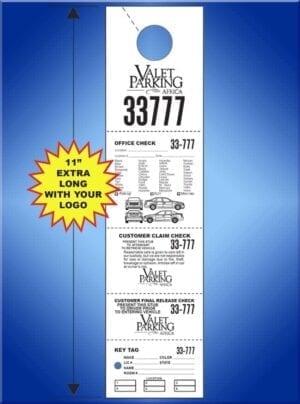 #VT5CHANDL1                  5 Part Custom Hanging Valet Ticket