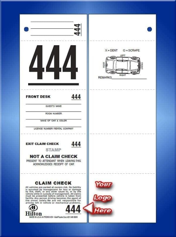 #VT5CHO-CB  5 Part Custom Hotel Ticket - Car Diagram Back 1,000