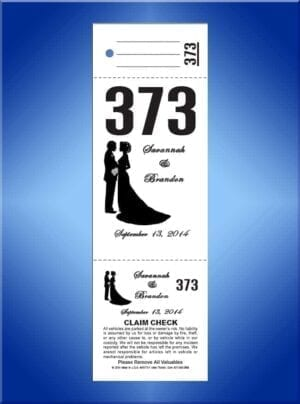 #WVT3-2                     3 Part Custom Wedding Valet Tickets