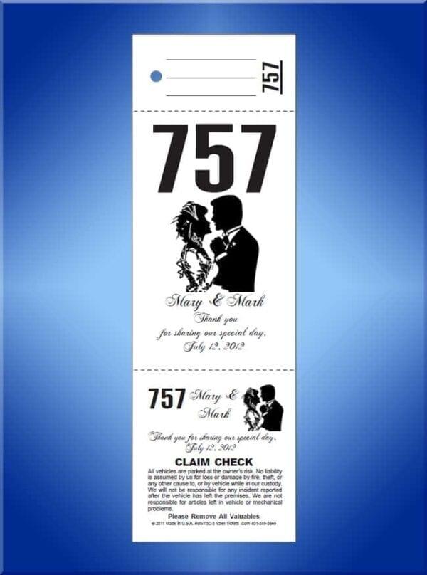 #WVT3-3                     3 Part Custom Wedding Valet Tickets