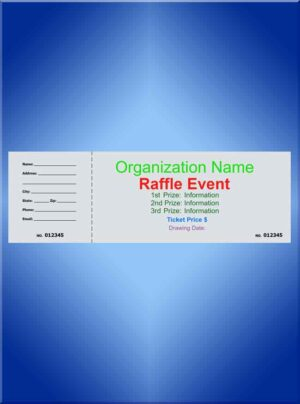 Jumbo Color Ink Raffle Ticket - 8 1/2 x 2 3/4