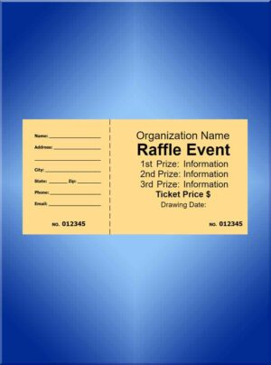 Raffle Tickets Large Black Ink  - 5 1/2 x 2 7/8 Design Your Own