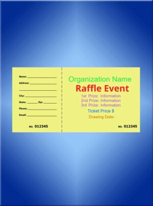 Raffle Tickets Large Color Ink - 5 1/2 x 2 7/8