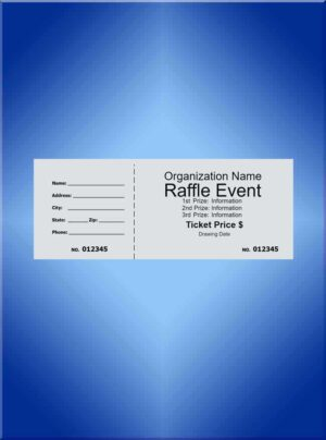 Raffle Tickets Standard Black Ink - 5 1/2 x 2 1/8